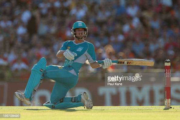 Joe Burns of the Heat bats during the Big Bash League final match between the Perth Scorchers and the Brisbane Heat at the WACA on January 19 2013 in...