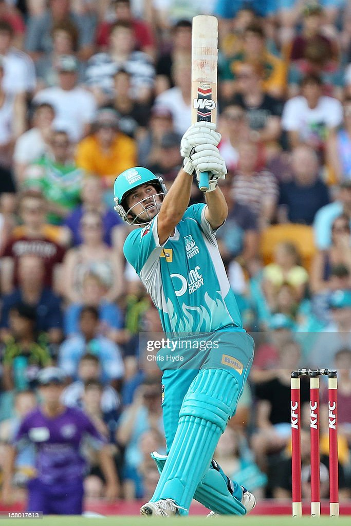 Joe Burns of the Heat bats during the Big Bash League match between the Brisbane Heat and the Hobart Hurricanes at The Gabba on December 9, 2012 in Brisbane, Australia.