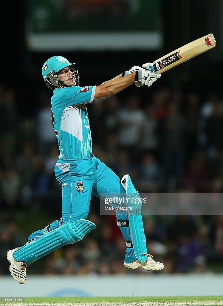 Joe Burns of the Heat bats during the Big Bash League match between the Hobart Hurricanes and the Brisbane Heat at Blundstone Arena on January 12, 2013 in Hobart, Australia.