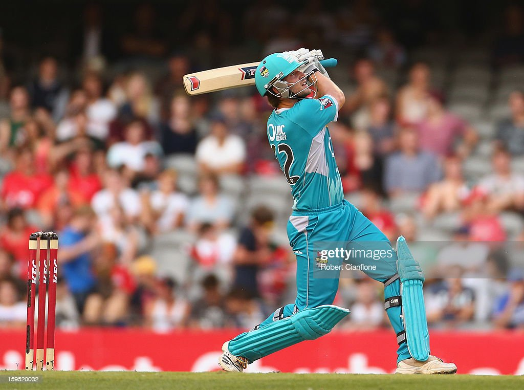 Joe Burns of the Heat hits out during the Big Bash League Semi-Final match between the Melbourne Renegades and the Brisbane Heat at Etihad Stadium on January 15, 2013 in Melbourne, Australia.
