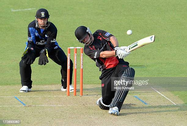 Joe Burns of the Leicestershire Foxes during the Friends Life T20 match between Leicestershire Foxes and Durham Dynamos at Grace Road on July 5 2013...