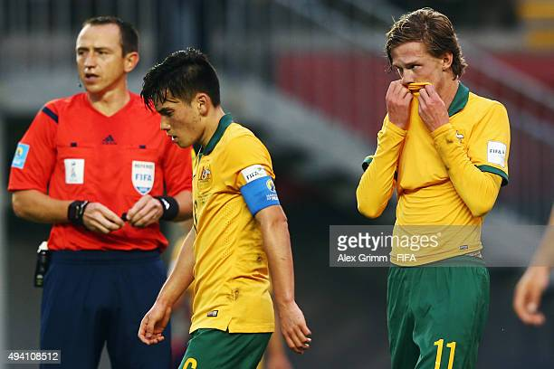 Joe Caletti and Lucas Derrick of Australia react during the FIFA U17 World Cup Chile 2015 Group C match between Argentina and Australia at Estadio...