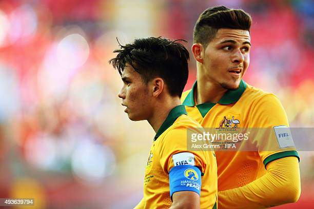Joe Caletti and Panayioti Armenakas of Australia react during the FIFA U17 World Cup Chile 2015 Group C match between Australia and Mexico at Estadio...