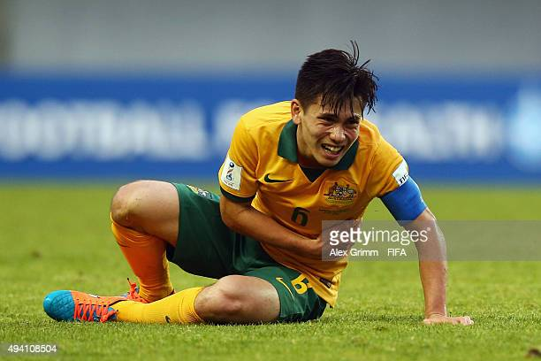 Joe Caletti of Australia reacts during the FIFA U17 World Cup Chile 2015 Group C match between Argentina and Australia at Estadio Nelson Oyarzun...