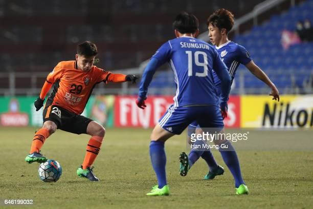 Joe Caletti of Brisbane Roar in action during the AFC Champions League Group E match between Ulsan Hyundai FC v Brisbane Roar at Ulsan Munsu Football...