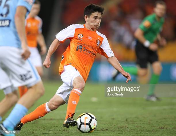 Joe Caletti of Brisbane Roar runs with the ball during the round seven ALeague match between Brisbane Roar and Melbourne City at Suncorp Stadium on...