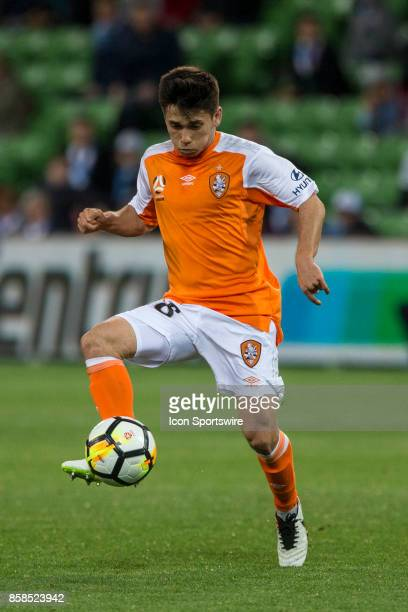 Joe Caletti of the Brisbane Roar controls the ball during Round 1 of the Hyundai ALeague Series between Brisbane Roar and Melbourne City on October...