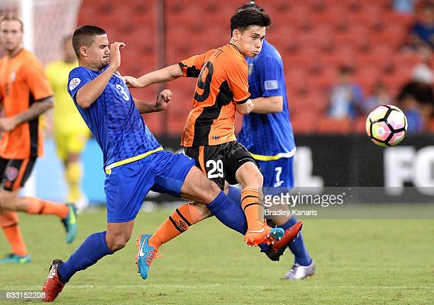 Joe Caletti of the Roar breaks through the defence during the Asian Cup Champions League Qualifying Match between Brisbane Roar and Global FC at...