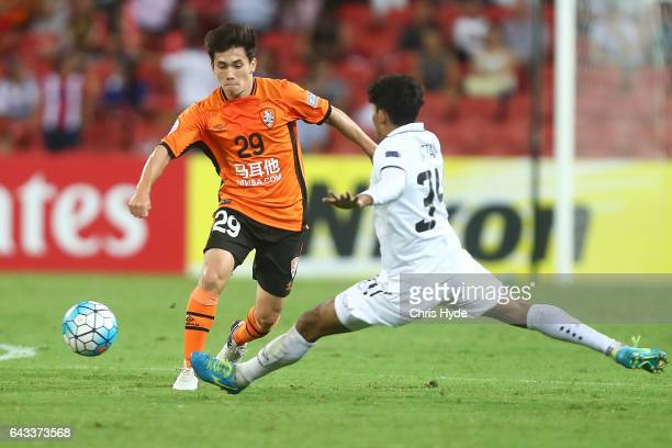 Joe Caletti of the Roar kicks during the AFC Champions League match between the Brisbane Roar and Muangthong United at Suncorp Stadium on February 21...