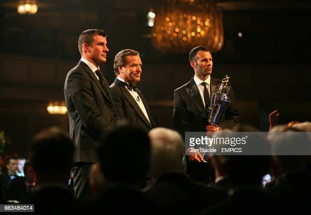 Joe Calzaghe and Jeff Stelling on stage with Player of the Year Ryan Giggs at the PFA Player of the Year Awards 2009 at the Grosvenor House Hotel...