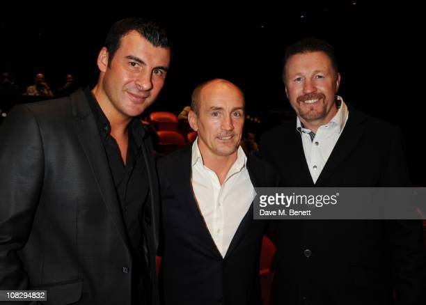 Joe Calzaghe Barry McGuigan and Steve Collins attend the private screening of 'The Fighter' at The Soho Hotel on January 24 2011 in London England