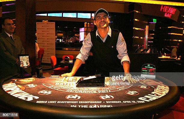 Joe Calzaghe poses at the poker tables during the boxers Grand Arrivals event on April 14 2008 at Planet Hollywood Resort and Casino Las Vegas Nevada