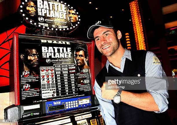 Joe Calzaghe poses at the slot machines in the Casino during the boxers Grand Arrivals event on April 14 2008 at Planet Hollywood Resort and Casino...
