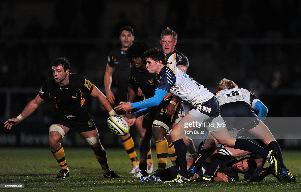 Joe Carlisle of Worcester Warriors in action during the LV= Cup match between London Wasps and Worcester Warriors at Adams Park on November 18, 2012 in High Wycombe, England.