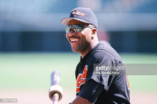Joe Carter of the Baltimore Orioles during the game against the Oakland Athletics on April 25 1998 at Oriole Park at Camden Yards in Baltimore...