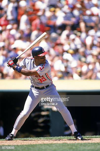 Joe Carter of the Cleveland Indians waits for the pitch during a 1989 game against the Oakland Athletics at OaklandAlameda Coliseum in Oakland...