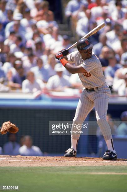 Joe Carter of the San Diego Padres waits for the pitch during an April 1990 game