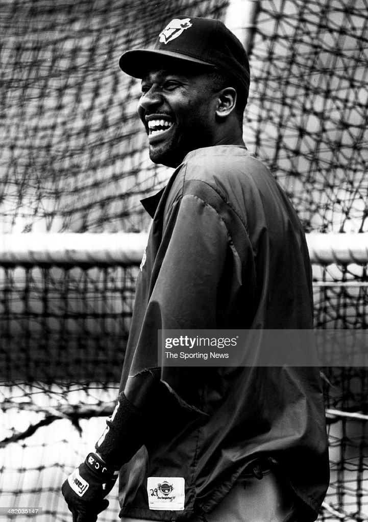 Joe Carter of the Toronto Blue Jays laughs circa 1990s.
