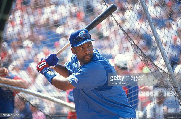 Joe Carter of the Toronto Blue Jays takes batting practice before the 67th MLB AllStar game between the American and National Leagues at Veterans...