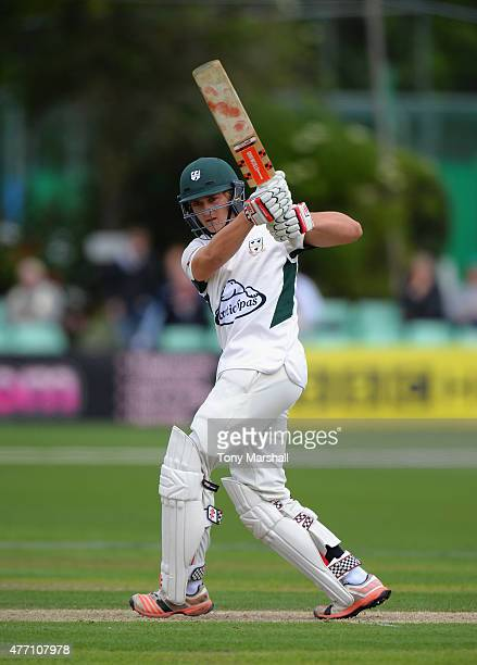 Joe Clarke of Worcestershire bats during the LV County Championship match between Worcestershire and Warwickshire at New Road on June 14 2015 in...