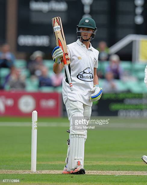Joe Clarke of Worcestershire celebrates reaching his 50 during the LV County Championship match between Worcestershire and Warwickshire at New Road...