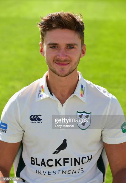 Joe Clarke of Worcestershire County Cricket Club poses in the Specsavers County Championship kit during the Worcestershire County Cricket photocall...