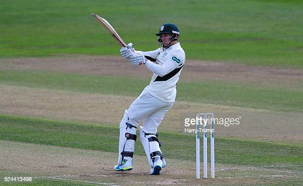 Joe Clarke of Worcestershire pulls during Day Three of the Specsavers County Championship match between Gloucestershire and Worcestershire at The...