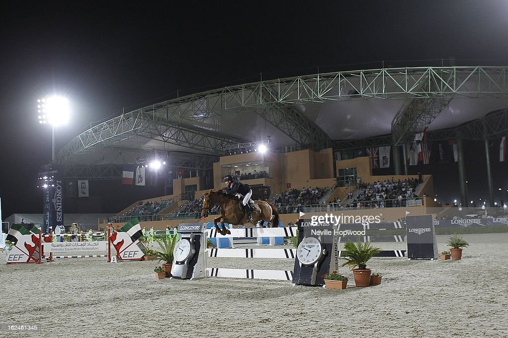 Joe Clee of Great Britain rides Diablesse De Muze during the President of the UAE Showjumping Cup - Furusiyyah Nations Cup Series presented by Longines on February 23, 2013 in Al Ain, United Arab Emirates.