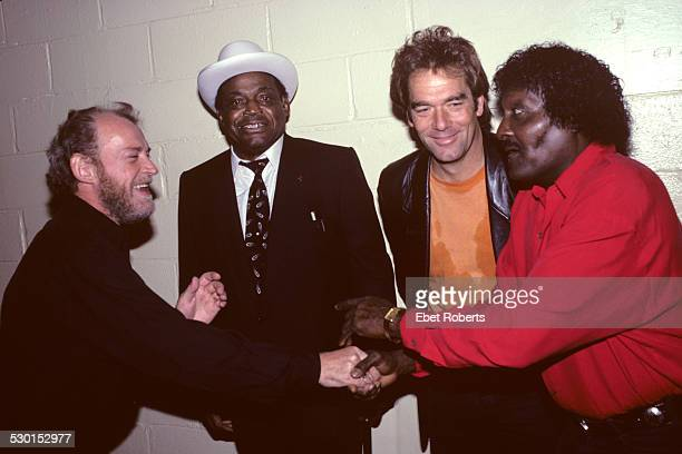 Joe Cocker Willie Dixon Huey Lewis and Albert Collins backstage at John Lee Hooker's Tribute Concert at Madison Square Garden in New York City on...