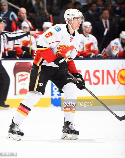 Joe Colborne of the Calgary Flames during game action against the Toronto Maple Leafs on March 21 2016 at Air Canada Centre in Toronto Ontario Canada