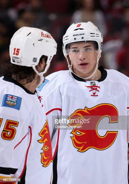 Joe Colborne of the Calgary Flames during the NHL game against the Phoenix Coyotes at Jobingcom Arena on January 7 2014 in Glendale Arizona The...