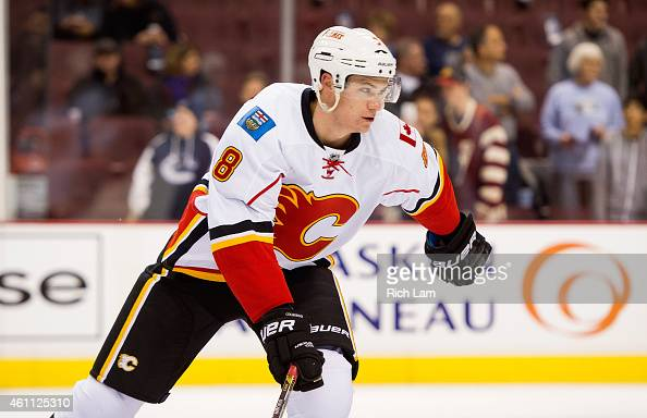 Joe Colborne of the Calgary Flames during the pregame skate prior to NHL action against the Vancouver Canucks in Vancouver BC on December 2014 at...