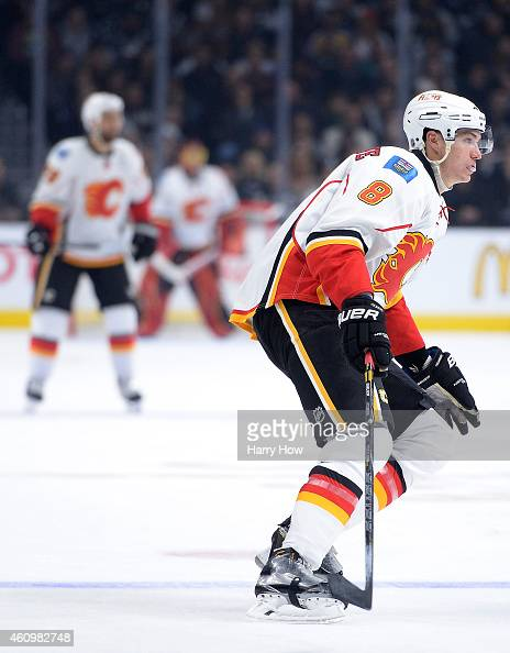 Joe Colborne of the Calgary Flames forechecks against the Los Angeles Kings at Staples Center on December 22 2014 in Los Angeles California