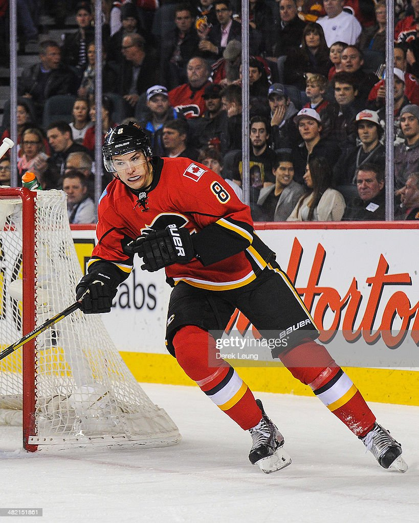 Joe Colborne #8 of the Calgary Flames in action against the Anaheim Ducks during an NHL game at Scotiabank Saddledome on March 26, 2014 in Calgary, Alberta, Canada.