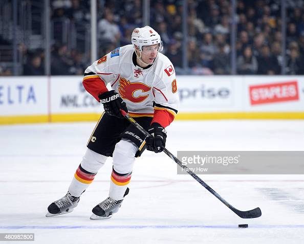 Joe Colborne of the Calgary Flames rushes during the game against the Los Angeles Kings at Staples Center on December 22 2014 in Los Angeles...
