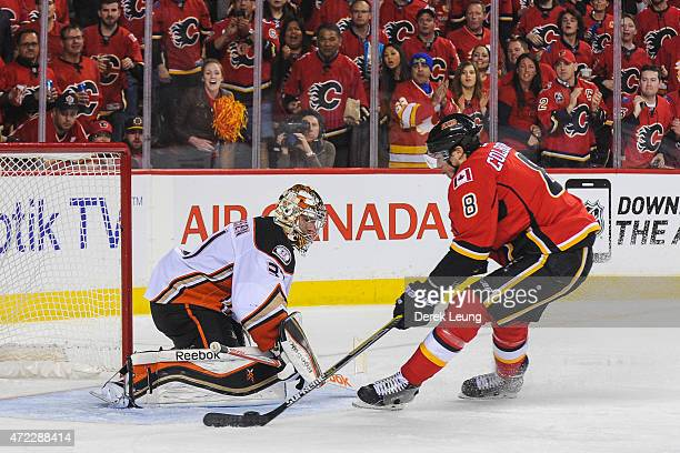 Joe Colborne of the Calgary Flames scores on Frederik Andersen of the Anaheim Ducks in Game Three of the Western Conference Semifinals during the...