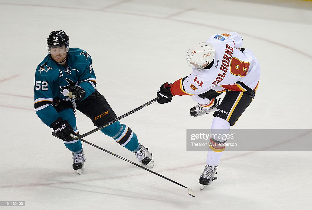 <a gi-track='captionPersonalityLinkClicked' href=/galleries/search?phrase=Joe+Colborne&family=editorial&specificpeople=5370968 ng-click='$event.stopPropagation()'>Joe Colborne</a> #8 of the Calgary Flames shoots on goal against Matt Irwin #52 of the San Jose Sharks during the third period at SAP Center on January 20, 2014 in San Jose, California.