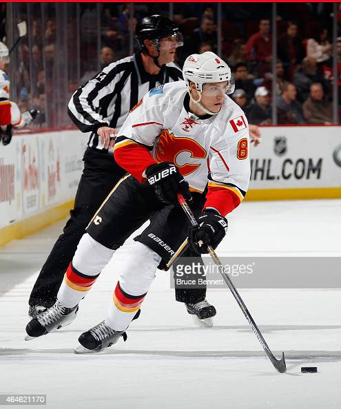 Joe Colborne of the Calgary Flames skates again the New Jersey Devils at the Prudential Center on February 25 2015 in Newark New Jersey