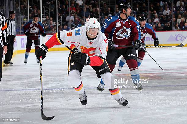 Joe Colborne of the Calgary Flames skates against the Colorado Avalanche at Pepsi Center on November 3 2015 in Denver Colorado The Avalanche defeated...