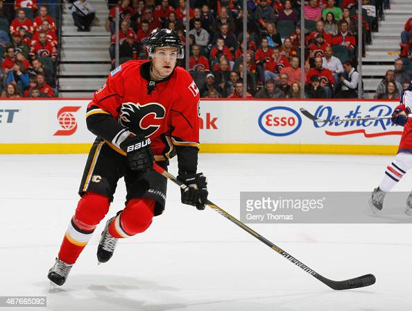 Joe Colborne of the Calgary Flames skates against the Columbus Blue Jackets at Scotiabank Saddledome on March 21 2015 in Calgary Alberta Canada