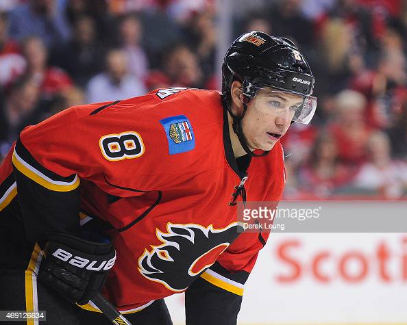Joe Colborne of the Calgary Flames skates against the Los Angeles Kings during an NHL game at Scotiabank Saddledome on April 9 2015 in Calgary...