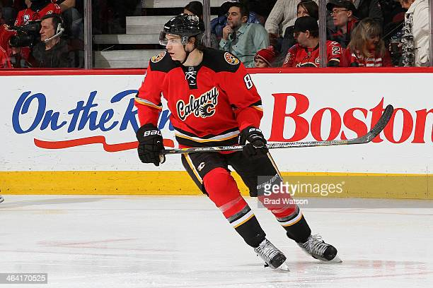 Joe Colborne of the Calgary Flames skates against the Philadelphia Flyers at Scotiabank Saddledome on December 31 2013 in Calgary Alberta Canada The...