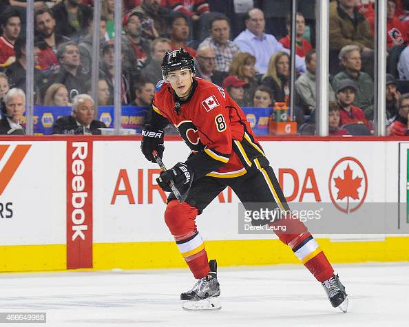 Joe Colborne of the Calgary Flames skates against the St Louis Blues during an NHL game at Scotiabank Saddledome on March 17 2015 in Calgary Alberta...