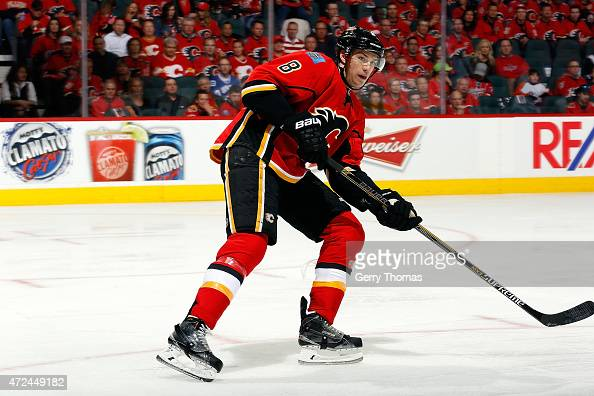 Joe Colborne of the Calgary Flames skates against the Vancouver Canucks at Scotiabank Saddledome for Game Three of the Western Quarterfinals during...