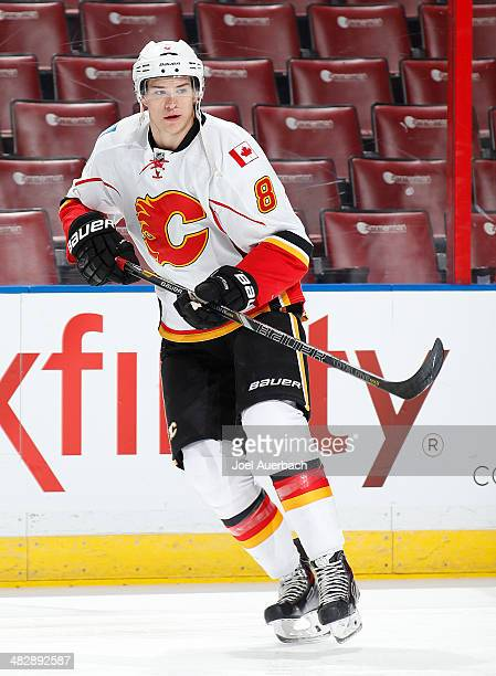Joe Colborne of the Calgary Flames skates prior to the game against the Florida Panthers at the BBT Center on April 4 2014 in Sunrise Florida The...