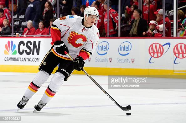Joe Colborne of the Calgary Flames warms up prior to an NHL game against the Washington Capitals at Verizon Center on November 13 2015 in Washington...