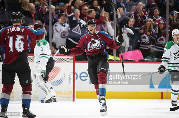 Joe Colborne of the Colorado Avalanche celebrates after scoring his third goal of the night against the Dallas Stars at the Pepsi Center on October...
