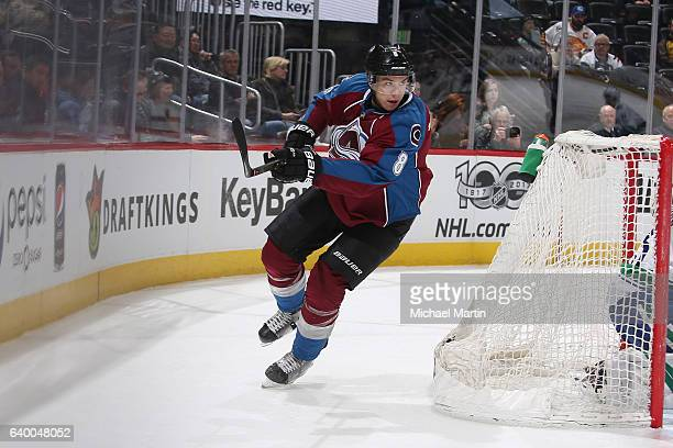 Joe Colborne of the Colorado Avalanche skates against the Vancouver Canucks at the Pepsi Center on January 25 2017 in Denver Colorado The Canucks...