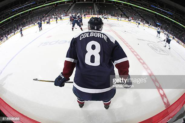 Joe Colborne of the Colorado Avalanche skates during warm ups prior to the game against the Winnipeg Jets at the Pepsi Center on October 28 2016 in...