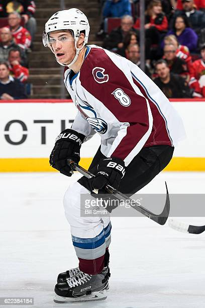 Joe Colborne of the Colorado Avalanche skates in the second period against the Chicago Blackhawks at the United Center on November 3 2016 in Chicago...